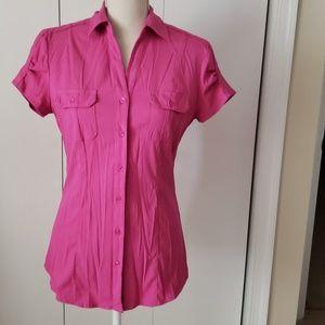 Hot Pink Short Sleeve Button Down Shirt
